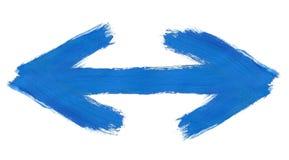 Το χέρι χρωμάτισε το διπλής κατεύθυνσης βέλος Στοκ εικόνα με δικαίωμα ελεύθερης χρήσης