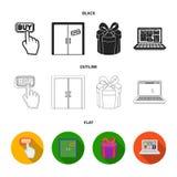 Το χέρι, χτυπά, ανελκυστήρας, δώρο, παράθυρο, πόρτα, σε απευθείας σύνδεση κατάστημα και άλλος εξοπλισμός Καθορισμένα εικονίδια συ ελεύθερη απεικόνιση δικαιώματος