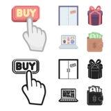Το χέρι, χτυπά, ανελκυστήρας, δώρο, παράθυρο, πόρτα, σε απευθείας σύνδεση κατάστημα και άλλος εξοπλισμός Καθορισμένα εικονίδια συ απεικόνιση αποθεμάτων
