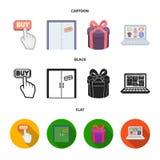 Το χέρι, χτυπά, ανελκυστήρας, δώρο, παράθυρο, πόρτα, σε απευθείας σύνδεση κατάστημα και άλλος εξοπλισμός Καθορισμένα εικονίδια συ διανυσματική απεικόνιση