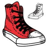 Το χέρι Doodle σύρει τα πάνινα παπούτσια Στοκ εικόνα με δικαίωμα ελεύθερης χρήσης