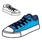 Το χέρι Doodle σύρει τα πάνινα παπούτσια Στοκ Φωτογραφία