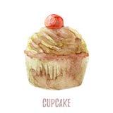 Το χέρι Watercolor που σύρεται cupcake τελειοποιεί για τις προσκλήσεις, τις κάρτες, τα γεύματα και τα πρότυπα επιλογών Στοκ εικόνα με δικαίωμα ελεύθερης χρήσης