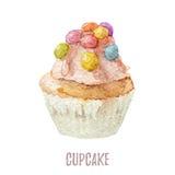 Το χέρι Watercolor που σύρεται cupcake τελειοποιεί για τις προσκλήσεις, τις κάρτες, τα γεύματα και τα πρότυπα επιλογών Στοκ φωτογραφία με δικαίωμα ελεύθερης χρήσης