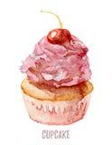 Το χέρι Watercolor που σύρεται cupcake τελειοποιεί για τις προσκλήσεις, τις κάρτες, τα γεύματα και τα πρότυπα επιλογών Στοκ Εικόνες
