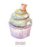 Το χέρι Watercolor που σύρεται cupcake τελειοποιεί για τις προσκλήσεις, τις κάρτες, τα γεύματα και τα πρότυπα επιλογών Στοκ Φωτογραφίες