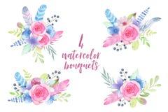 Το χέρι Watercolor χρωμάτισε τη γαμήλια ανθοδέσμη λουλουδιών με τα φτερά και τα φύλλα που απομονώθηκαν στο άσπρο υπόβαθρο Στοκ Εικόνα
