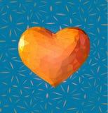 Το χαμηλό πολυ πορτοκαλί σύμβολο καρδιών με το BG Στοκ φωτογραφία με δικαίωμα ελεύθερης χρήσης