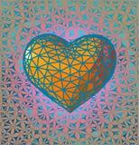 Το χαμηλό πολυ πορτοκαλί σύμβολο καρδιών με το BG Στοκ Φωτογραφίες