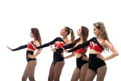 Το χαμόγελο λεπτό πηγαίνω-πηγαίνει χορευτές που απομονώνονται στο λευκό Στοκ Φωτογραφίες