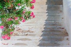 Το χαρακτηριστικό ελληνικό παραδοσιακό χωριό με τους άσπρους τοίχους και οι ζωηρόχρωμες πόρτες με τη θάλασσα βλέπουν στο νησί της Στοκ Φωτογραφία
