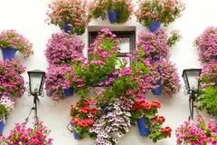 Το χαρακτηριστικό παράθυρο διακόσμησε τα ρόδινα και κόκκινα λουλούδια, Ισπανία, Mediterra Στοκ Φωτογραφία