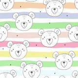 Το χαριτωμένο άνευ ραφής σχέδιο με αστείο teddy αντέχει επίσης corel σύρετε το διάνυσμα απεικόνισης διανυσματική απεικόνιση