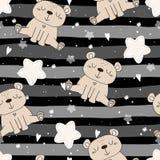 Το χαριτωμένο άνευ ραφής σχέδιο με αστείο teddy αντέχει επίσης corel σύρετε το διάνυσμα απεικόνισης Στοκ Εικόνα