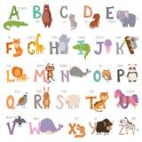 Το χαριτωμένο αλφάβητο ζωολογικών κήπων με τα ζώα κινούμενων σχεδίων στο άσπρο υπόβαθρο και grunge η άγρια φύση επιστολών μαθαίνο Στοκ φωτογραφία με δικαίωμα ελεύθερης χρήσης