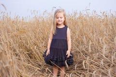 Το χαριτωμένο ευτυχές μικρό κορίτσι greams στον τομέα σίτου και ακούει ο ήχος αέρα Στοκ Εικόνες