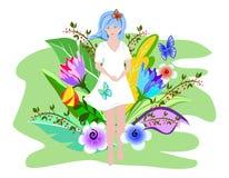Το χαριτωμένο θερινό κορίτσι σε ένα άσπρο φόρεμα που περπατά πέρα από τον τομέα με το φωτεινό καλοκαίρι ανθίζει Υπερφυσικές λουλο διανυσματική απεικόνιση