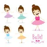 Το χαριτωμένο διάνυσμα σχεδίου κινούμενων σχεδίων δραστηριότητας κοριτσιών μπαλέτου απεικόνιση αποθεμάτων
