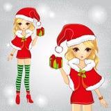 Το χαριτωμένο κορίτσι έντυσε ως Άγιος Βασίλης που κρατά ένα δώρο διανυσματική απεικόνιση