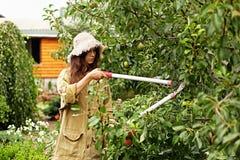 Το χαριτωμένο κορίτσι με μακρυμάλλη κάνει την κοπή με το μεγάλο ψαλίδι κήπων Στοκ εικόνα με δικαίωμα ελεύθερης χρήσης