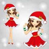 Το χαριτωμένο κορίτσι μόδας έντυσε στο κόκκινο φόρεμα Άγιου Βασίλη ελεύθερη απεικόνιση δικαιώματος
