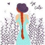 Το χαριτωμένο κορίτσι μόδας κινούμενων σχεδίων με το καπέλο και το καλοκαίρι ντύνουν με μια μακριά πλεξούδα διανυσματική απεικόνιση
