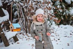 Το χαριτωμένο κορίτσι παιδιών βάζει τους σπόρους στον τροφοδότη πουλιών στο χειμερινό χιονώδη κήπο Στοκ Φωτογραφία