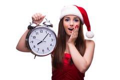 Το χαριτωμένο κορίτσι στην έννοια Χριστουγέννων που απομονώνεται στο λευκό Στοκ φωτογραφία με δικαίωμα ελεύθερης χρήσης