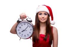 Το χαριτωμένο κορίτσι στην έννοια Χριστουγέννων που απομονώνεται στο λευκό Στοκ Φωτογραφίες