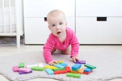 Το χαριτωμένο κοριτσάκι 6 μηνών παίζει το ξύλινο πολύχρωμο meccano Στοκ Εικόνα