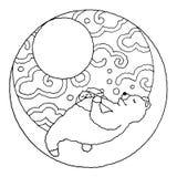 Το χαριτωμένο κουνέλι ζευγών και αφορά το φεγγάρι, διανυσματική απεικόνιση Στοκ Εικόνες