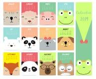 Το χαριτωμένο μηνιαίο ημερολόγιο το 2019 με τη γάτα, πρόβατα, χοίρος, αλεπού, αντέχει, panda, κουκουβάγια ελεύθερη απεικόνιση δικαιώματος
