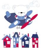 Το χαριτωμένο μωρό αφορά πέρα από τα σπίτια το αεροπλάνο Εκτύπωση παιδιών για τα παιδιά, αφίσα, ιματισμός των παιδιών, κάρτα Vect διανυσματική απεικόνιση