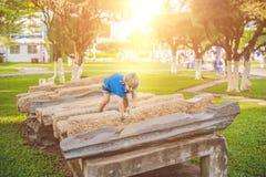 Το χαριτωμένο ξανθό αγόρι αναρριχείται επάνω στους φραγμούς πετρών στην παιδική χαρά Παιδική ηλικία, έννοια Στοκ Φωτογραφία