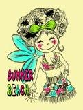 το χαριτωμένο σχέδιο κοριτσιών, καλοκαίρι η τυπωμένη ύλη ελεύθερη απεικόνιση δικαιώματος