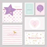 Το χαριτωμένο σχέδιο καρτών με ακτινοβολεί για τα έφηβη Εμπνευσμένα αποσπάσματα, γενέθλια, γλυκιά πρόσκληση 16 κομμάτων συμπεριλα Στοκ εικόνα με δικαίωμα ελεύθερης χρήσης