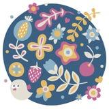 Το χαριτωμένο σύνολο άνοιξη έκανε με τα λουλούδια, φυτά, φράουλα, κεράσι, μούρα, φύλλα, φύση Στοκ Εικόνες