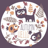 Το χαριτωμένο φθινόπωρο έθεσε με τη γάτα, πουλί, λουλούδι, φυτό, φύλλο Στοκ φωτογραφία με δικαίωμα ελεύθερης χρήσης
