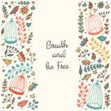 Το χαριτωμένο χέρι που σύρεται doodle λαναρίζει, πλαίσιο, φυλλάδιο, κάρτα με τα πουλιά, κλουβιά, λουλούδια Στοκ Φωτογραφίες
