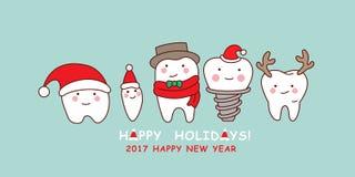 Το χαριτωμένο δόντι κινούμενων σχεδίων γιορτάζει τα Χριστούγεννα ελεύθερη απεικόνιση δικαιώματος
