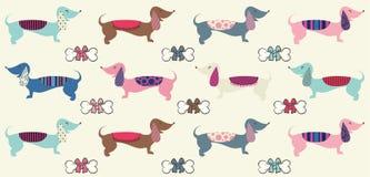 Το χαριτωμένο dachshund επαναλαμβάνει το σχέδιο με τα κόκκαλα όπως τόξα Στοκ Φωτογραφίες