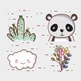 Το χαριτωμένο panda αντέχει doodle τα κινούμενα σχέδια Στοκ φωτογραφία με δικαίωμα ελεύθερης χρήσης