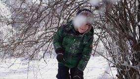Το χαρούμενο γοητευτικό παιδί περπατά βαθιά snowdrifts και τινάζει έναν κλάδο, σε αργή κίνηση απόθεμα βίντεο