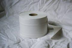Το χαρτί τουαλέτας βρίσκεται άσπρο στο φύλλο στοκ φωτογραφία με δικαίωμα ελεύθερης χρήσης