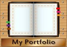 Το χαρτοφυλάκιό μου, φάκελλος δέρματος, με το τρόχισμα μετάλλων, στο υπόβαθρο των ξύλινων πινάκων Άσπρες σελίδες για το κείμενο κ απεικόνιση αποθεμάτων