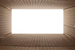 το χαρτόνι κιβωτίων που απομονώνεται το λευκό σκιάζει Στοκ Εικόνες
