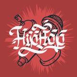 Το χιπ χοπ που γράφει τη γοτθική καλλιγραφία συνήθειας σχεδιάζει με ένα μικρόφωνο και ο ψεκασμός γκράφιτι μπορεί Baloon καλλιτεχν ελεύθερη απεικόνιση δικαιώματος