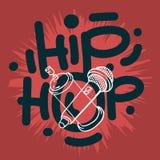 Το χιπ χοπ που γράφει τον τύπο συνήθειας σχεδιάζει με ένα μικρόφωνο και ο ψεκασμός γκράφιτι μπορεί Baloon Καλλιτεχνικό χέρι κινού ελεύθερη απεικόνιση δικαιώματος