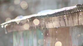 Το χιόνι άνοιξη λειώνει bokeh τον κλάδο απόθεμα βίντεο