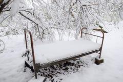 Το χιόνι ενέπεσε στον κήπο Το παλαιό κρεβάτι κάτω από ένα δέντρο στον κήπο ελάτε έχει το χειμώνα Στοκ Φωτογραφίες